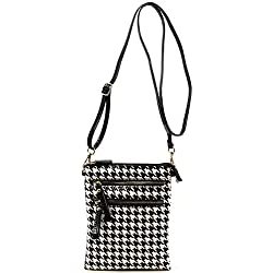 Vegan Faux Patent Leather Functional Multi Pockets Crossbody bag with Wirslet (BLACK)