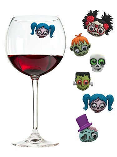Zombie Wine Charms and Magnetic Glass Markers Fun Decor or Party Favors - Set of 6 by Simply Charmed by Simply Charmed