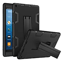 Moko Case for All-New Amazon Fire HD 8 Tablet (7th Generation, 2017 Release Only) - [Two-in-One] Shock Proof PC Hard Shell Soft Silicone Back Contrast Color Cover for Fire HD 8, Black & Black