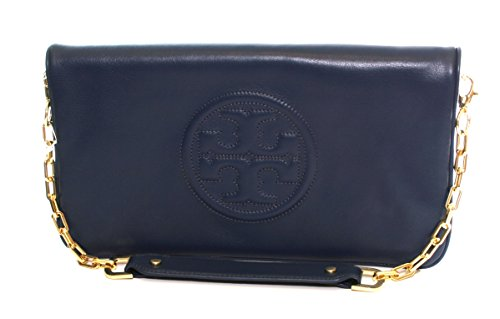 Tory Burch Reva Clutch Leather Chain TB Logo Hudson Bay Blue by Tory Burch