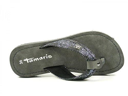 Tamaris Schuhe 1-1-27117-38 Bequeme Damen Pantolette, Sandalen, Sommerschuhe für Modebewusste Frau, STEEL/BLK.STRU