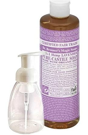 dr bronner 39 s pure castile liquid lavender soap 16 fl oz with foam dispenser bottle 8 oz. Black Bedroom Furniture Sets. Home Design Ideas