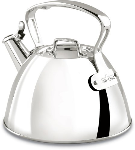 All-Clad E86199 Stainless Steel Specialty Cookware Tea Kettle, 2-Quart, Silver