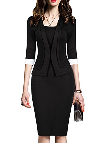 One Piece Dress - WOOSEA Women's 2/3 Sleeve Colorblock Slim Bodycon Business Pencil One-Piece Dress (Black, Large)