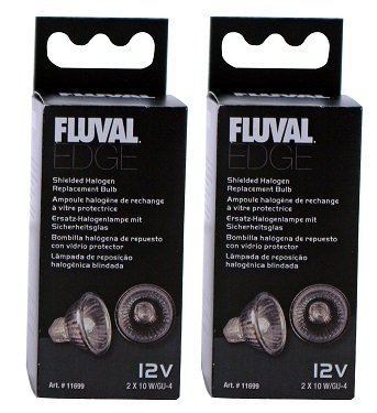 (2 Pack) Fluval Edge Shielded Halogen Replacement Bulb, 10 Watts