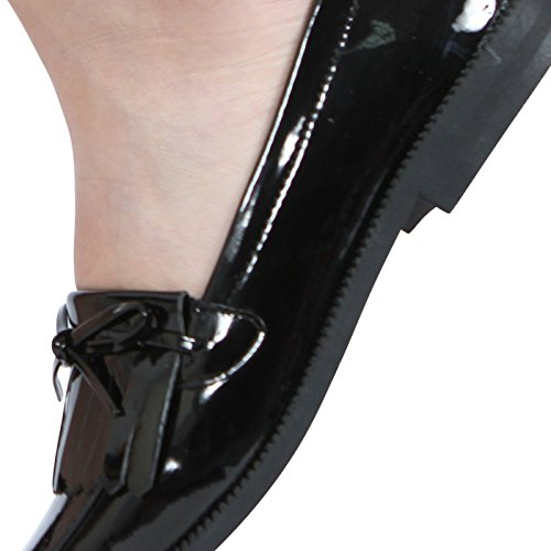 8 Ladies Fringe School Size Work Loafers Heel Womens Contrast Tassel CORE Black Patent Low Bow COLLECTION Shoes 3 UHEqZwHxB
