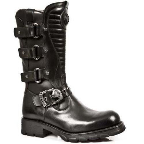 scarpe NEWROCK NEW ROCK 7604 - S1 Strap Matellic gotico nero stivali western metallo