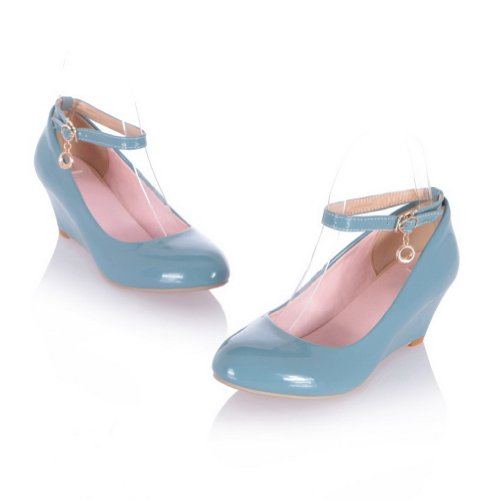 AmoonyFashion Womans Closed Round Toe Kitten Heel Wedges PU Patent Leather Solid Pumps Blue h0kE0