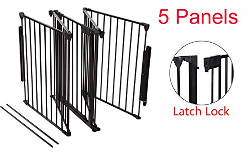 Upgraded Fireplace Safety Fence Baby Gate/Fence BBQ Pet Metal Fire Gate Baby Play Yard with Door 5 Panels Safety Gate for Pet/Toddler/Dog/Cat US Stock by Tenozek (Image #3)