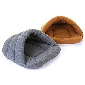 Pet Cat Bed Small Dog Puppy Sofa Polar Fleece Material Pet Mat Cat Sleeping Bag Warm,Gray,60x55cm