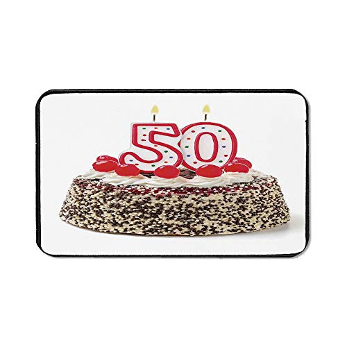 50th Birthday Decorations Natural Rubber Pad,Cream Cake with Cherries Burning Candles Chocolaty Yummy Desert for Office &Hone Computers,15.75''Wx23.62''Lx0.12''H