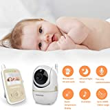 HelloBaby HB248 Video Baby Monitor with 2.4Inch Digital Color LCD Screen, Remote Pan-Tilt and Infrared Night Vision, Two Way Audio, Temperature Detection and Long Range Transmission (Champagne)