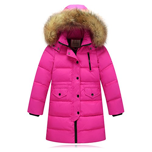 Seeduck Big Girls' Winter Parka Down Coat Puffer Jacket Padded Overcoat with Fur Hood (12T=160CM=63 Inch, Dark Rose)