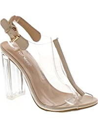 Women's Fenton-1 Lucite Clear Strappy Block Chunky High Heel Open Peep Toe Sandal