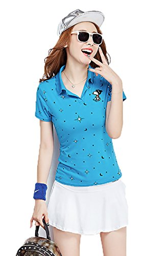 KEIMI(ケイミ) レディース ゴルフウェア 上下 セット ポロシャツ スカート カジュアル 可愛い スポーツウェア おしゃれ ゴルフ ウェア 全4色 (XL, blue)