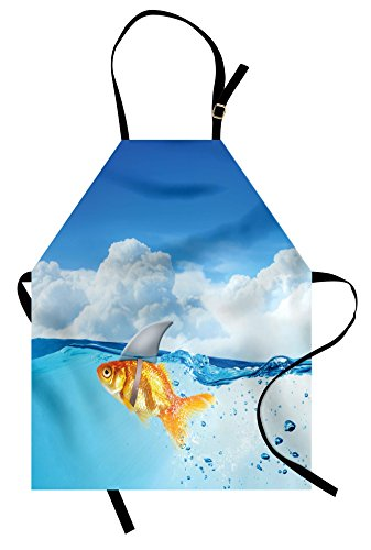 Ambesonne Shark Apron, Goldfish with Shark Fin