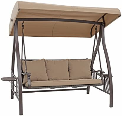 SORARA Porch Swing 3 Seat Outdoor Canopy Hammock with Steel Frame and Adjustable Tilt Canopy