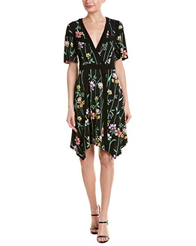 BCBGMAXAZRIA Women's Floral V-Neck Printed Matte Jersey Dress Botanical Floral Garden/Midnight Medium