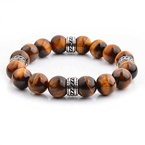 - West Coast Jewelry   Crucible Stainless Steel and 12 mm Round Natural Tiger's Eye Stone Beads Tribal Stretch Bracelet