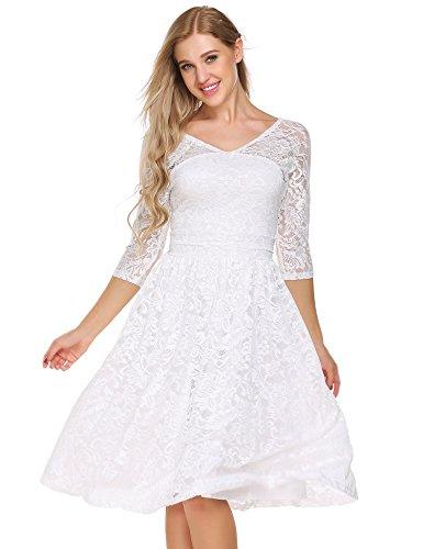 ACEVOG Women's Vintage Lace Dress Bridal Formal Skater Dress Wedding (Maternity Bridal Party Dresses)