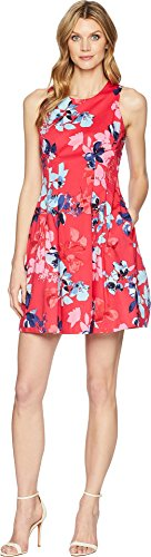 Pleated Dress Vince (Vince Camuto Women's Printed Cotton Sleeveless Fit and Flare Dress Pink Multi 14)