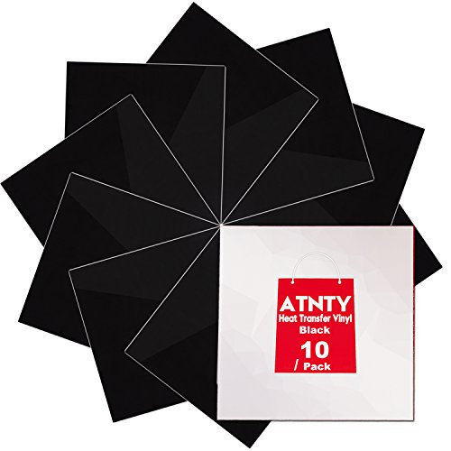 Heat Transfer Vinyl Black HTV - 10 Pack - 12 x 12 Sheets for Iron On T-Shirts