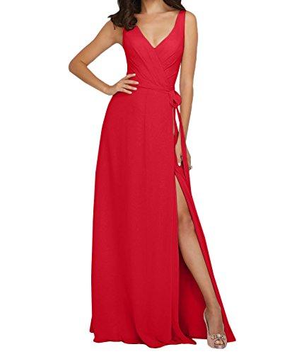 A Ausschnitt V Abendkleider Linie Rot Rock Partykleider Brautjungfernkleider Chiffon Lang Langes Damen Charmant ORqHFzF