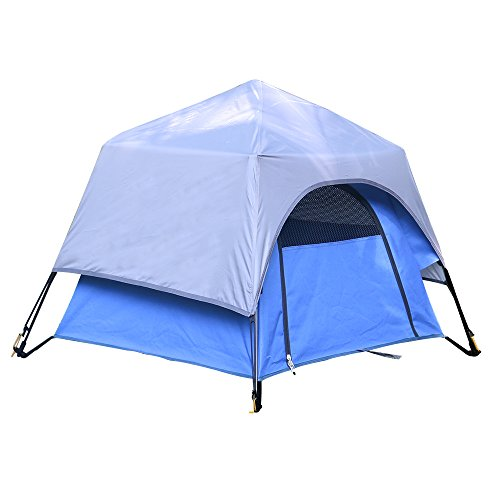 Yolafe Portable Pet Tent, Outdoor Pet Kennel with Innovative Instant Setup Centre Hub Design, Ideal for Camping with Cats and Dogs, Included Black Carry Bag and 2 (Blue) For Sale