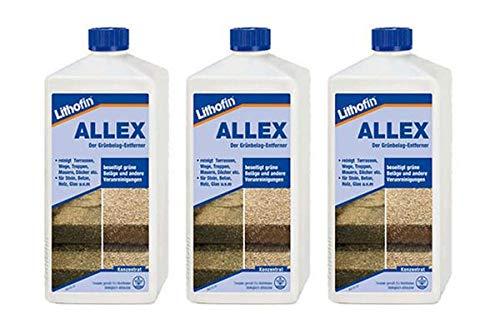 Lithofin ALLEX 3 l - Grünbelag-Entferner Algen- und Moosentferner - Ideal zum vorbeugen gegen grüne & rutschige Beläge Lithofin AG