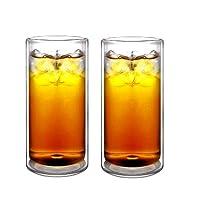Sun's Tea (tm) 16oz Ultra Clear Fuerte Doble pared con aislamiento Thermo Glass Tumbler Highball Glass para cerveza /cóctel /limonada /té helado /café, juego de 2 (hecho de vidrio real de borosilicato, no de plástico)