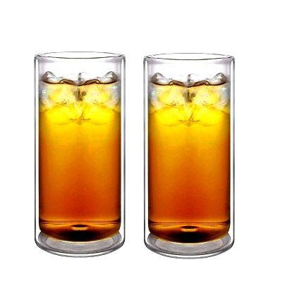 Sun's Tea(tm) 16oz Ultra Clear Strong Double Wall Insulated Thermo Glass Tumbler Highball Glass for Beer/cocktail/lemonade/iced Tea/coffee, Set of 2 (Made of Real Borosilicate Glass, Not Plastic)