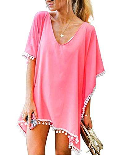 LOMON Pool Cover Up Women Pom Chiffon Fashion Vocation Beach Kaftan Dress (Solid Pink)