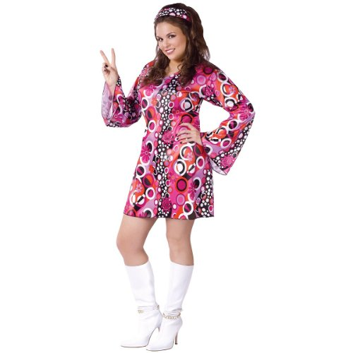 Fun World Costumes Women's Womens Feelin' Groovy Pink, Plus Size -