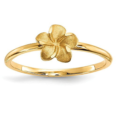14k Yellow Gold Plumeria Band Ring Size 7.00 Flowers/leaf Fine Jewelry Gifts For Women For Her