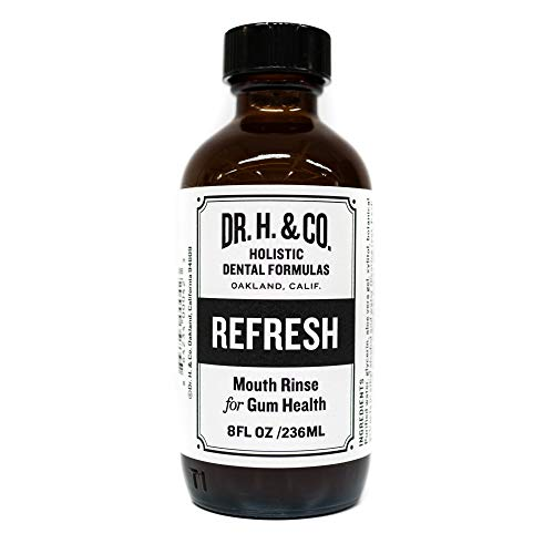 Dr. H. & Co. Dentist Formulated Refresh Mouthwash - All Natural Herbal and Holistic Mouth Rinse for Healthy Gums and Teeth (8oz Glass Bottle)
