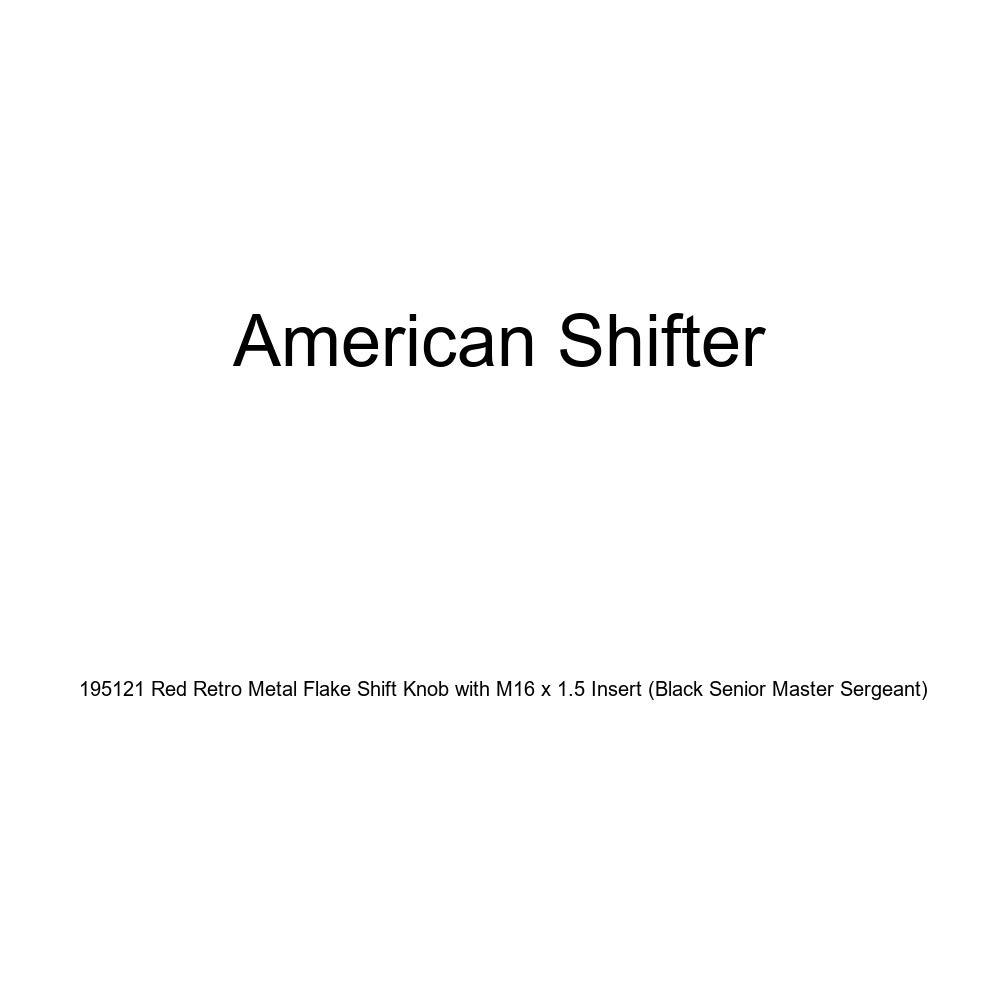 Black Senior Master Sergeant American Shifter 195121 Red Retro Metal Flake Shift Knob with M16 x 1.5 Insert