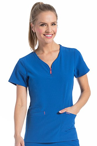 Med Couture Women's 'Air Collection' Front Zip Zippity Scrub Top, Royal/Apricot, (Scrub Couture Top)