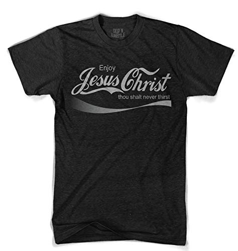 Skip N' Whistle T-Shirts Men's Jesus Christ Coca Cola Shirt Funny Coke Logo Design Custom Print Tee - Heathered Black, ()