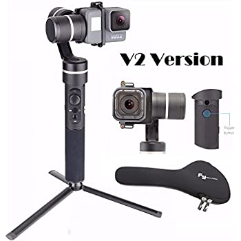 Feiyu G5 V2 Updated 3 Axis Splash Proof Handheld Gimbal for GoPro Hero 6/5/4/3/Session, Yi Cam 4K, AEE Action Cameras of Similar Size with EACHSHOT Mini Tripod