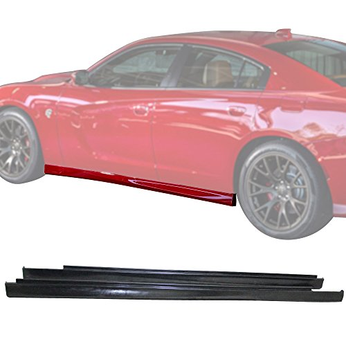 Side Skirts Fits 2011-2018 Dodge Charger | SRT Style Black PU Sideskirt Rocker Moulding Air Dam Chin Diffuser Bumper Lip Splitter by IKON MOTORSPORTS | 2013 2014 2015 2016 ()