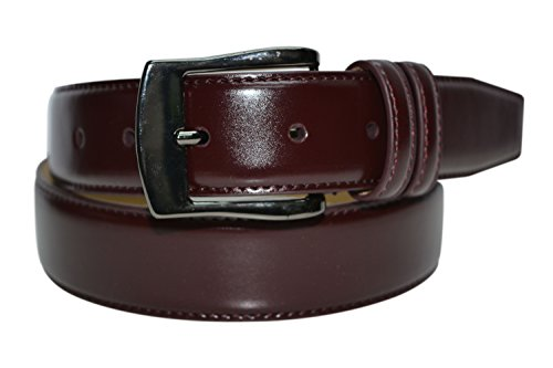 7910 - Toneka Men's Cordovan/Burgundy and Tan Stitched Feather Edge Dress Belt (38(fits 36