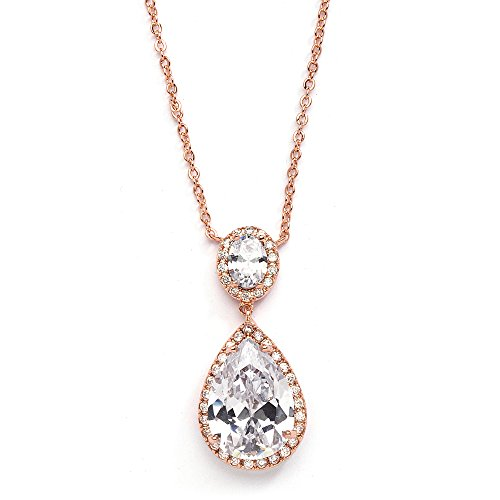 Mariell 14K Rose Gold Plated CZ Bridal Necklace Pendant with Oval-Cut Halo and Bold Pear-Shaped Teardrop
