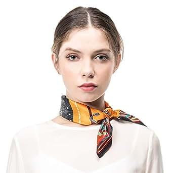 COLD POSH Women's Scarf 100% Silk Square Neckerchief Satin Neck Scarfs Headscarf,Luxury Gift,21''x21''/35''x35'' - Orange - 21''x21''