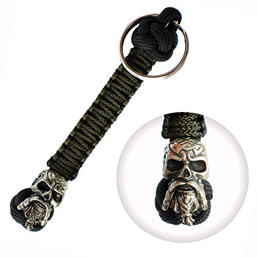 Handmade Paracord Lanyard Keychain - Celtic Skull - Custom EDC Lanyards for Knife - Unique Paracord Keychains for Men