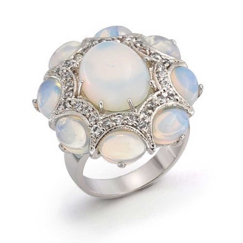 - Bling Jewelry White Rainbow Opalite Fashion CZ Cabochon Cluster Oval Statement Ring for Women for Teen Silver Plated Brass