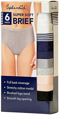 Splendid Super Soft Brief Full Back Coverage, Mid Rise Stretchy Cotton Modal Smooth Leg Opening 6 Pack