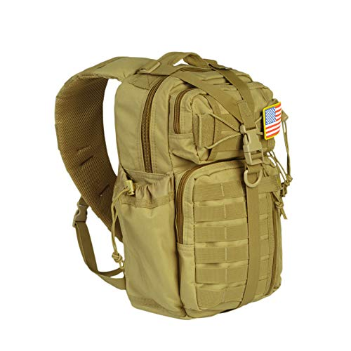 NHILES Tactical Sling Bag Outdoor Military MOLLE Shoulder Assault EDC Backpack, Gear Pack w/USA Patch, Coyote