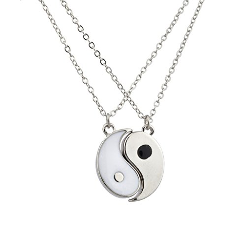 Lux Accessories Silvertone & White Yin Yang Peace One with All BFF Best Friends Necklaces