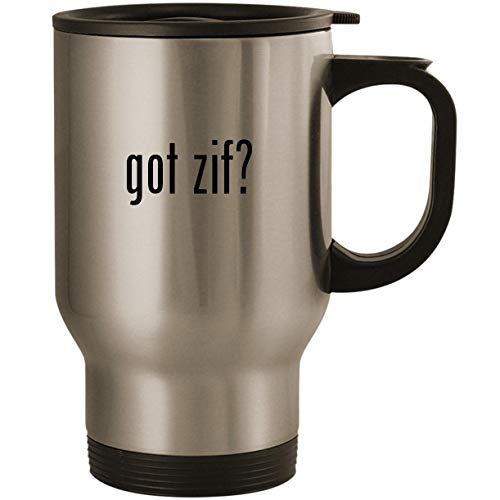 No Zif Socket - got zif? - Stainless Steel 14oz Road Ready Travel Mug, Silver