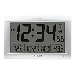 La Crosse Technology 513-1311OT Jumbo Atomic Digital Wall Clock with Out Temperature, Silver